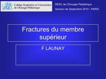 Fractures du membre supérieur - F LAUNAY - SOFOP