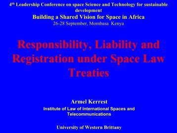 Space debris, remarks on current legal issues - United Nations ...