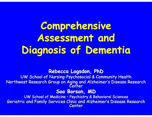 Assessment and Diagnosis of Dementia - National Resource Center ...