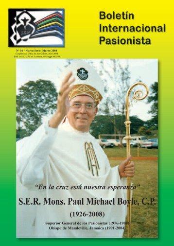 SER Mons. Paul Michael Boyle, CP (1926-2008) - Passio Christi