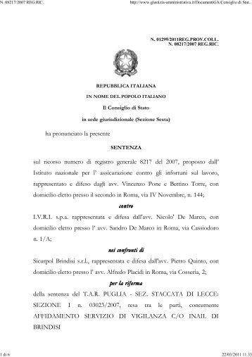 Consiglio di Stato sez. VI 2/3/2011 n. 1299. - Appalti e Contratti