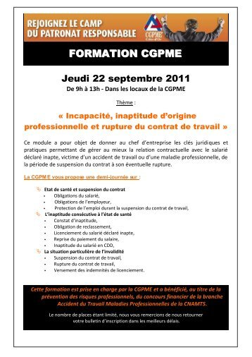 FORMATION CGPME - Weezevent