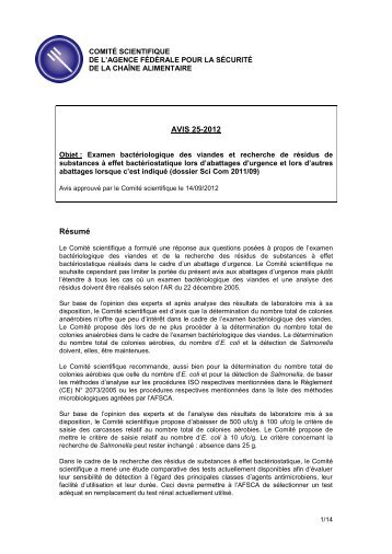 Avis 25-2012 du Comité scientifique de l'AFSCA - Favv