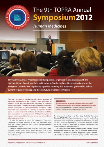 The 9th TOPRA Annual Symposium 2012 - Human Medicines