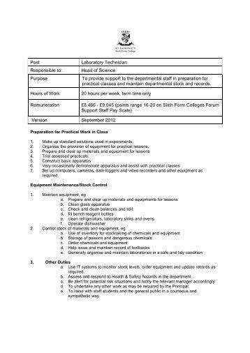 ASSISTANT/TRAINEE LABORATORY TECHNICIAN Job Description ...