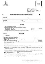 modulo richiesta autorizzazione - Comune di Bologna