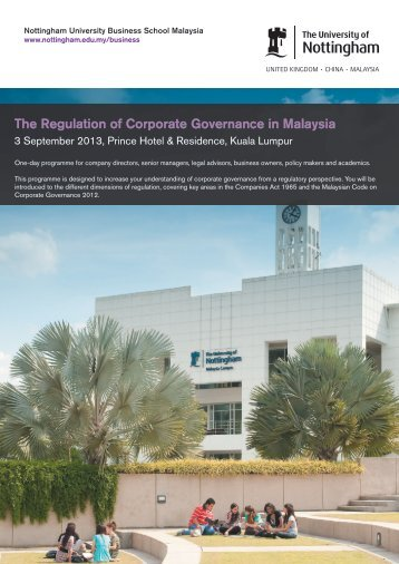 The Regulation of Corporate Governance in Malaysia