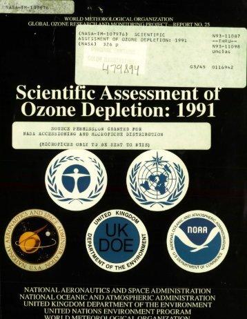 Scientific Assessment of Stratospheric Ozone: 1991 - NASA