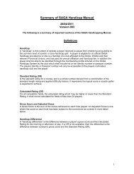 Summary of SAGA Handicap Manual - Eastern Cape