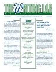 Creating an eFFeCtive Writing Center - The Writing Lab Newsletter