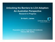 Unlocking the Barriers to LCA Adoption - ALCAS Conference