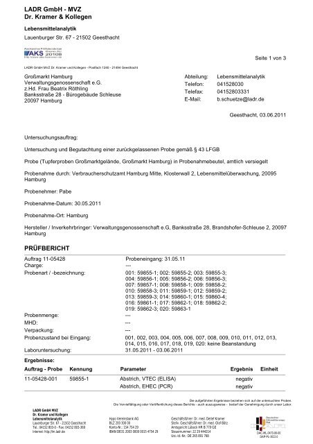 LADR GmbH - MVZ Dr. Kramer & Kollegen ... - Großmarkt Hamburg
