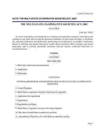 Multistate-co-operative-society-act-and-rules - Asha on SCBA Multi ...