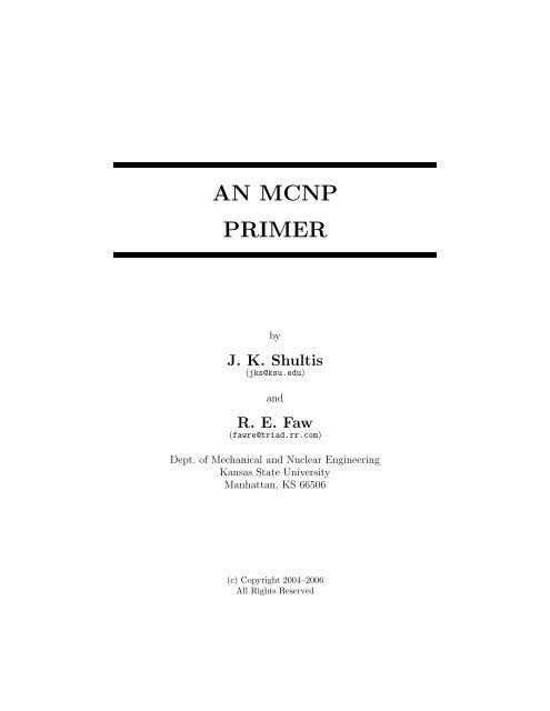 AN MCNP PRIMER