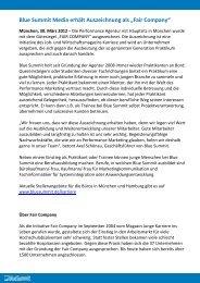 """Blue Summit Media erhält Auszeichnung als """"Fair ... - blueSummit.de"""