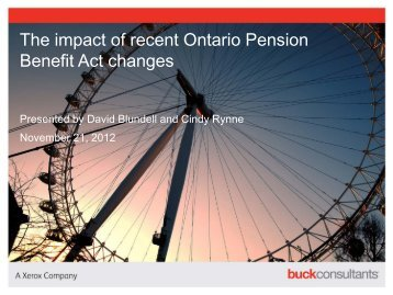 The impact of recent Ontario Pension Benefit Act changes
