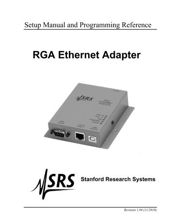 RGA Ethernet Adapter - Stanford Research Systems