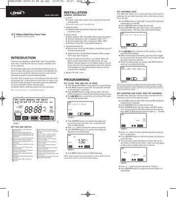 claber water timer instruction manual