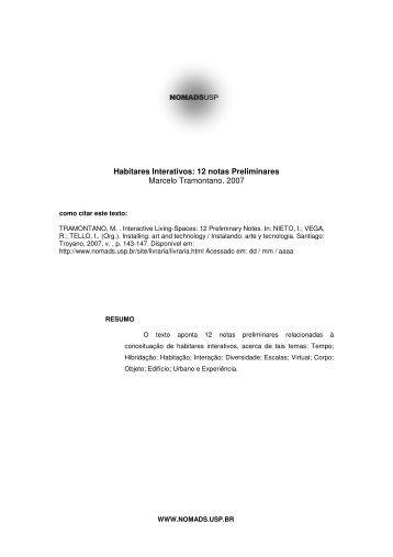 Habitares Interativos: 12 notas Preliminares Marcelo ... - Nomads.usp