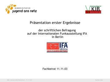 Präsentation erster Ergebnisse der schriftlichen Befragung auf ... - KIB
