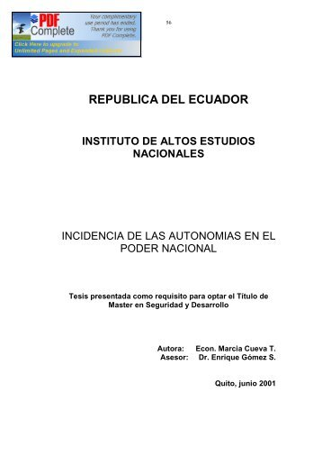 REPUBLICA DEL ECUADOR - Repositorio Digital IAEN