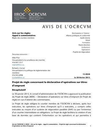 Projet de règle concernant la déclaration d'opérations sur ... - ocrcvm