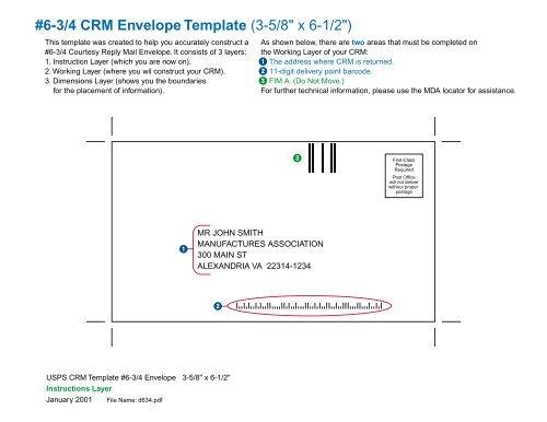 6 3 4 Crm Envelope Template 3 5 8 X 6 1 2