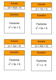 Treasure Hunt - factorising quadratics - Mr Barton Maths