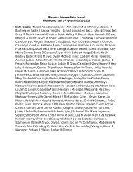 Minooka Intermediate School High Honor Roll 2nd Quarter 2012 ...