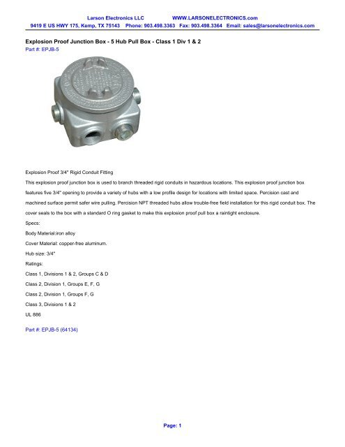 Explosion Proof Junction Box - 5 Hub Pull Box