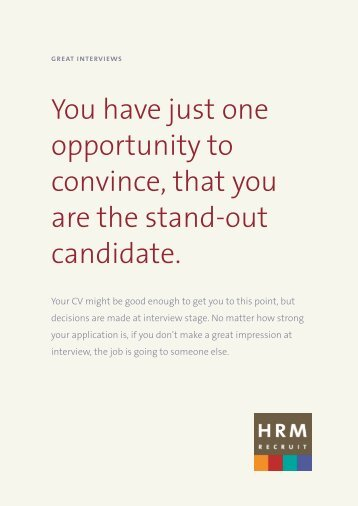 How to do a Great Interview - HRM Recruit