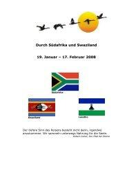 Durch Südafrika und Swaziland 19. Januar – 17. Februar 2008