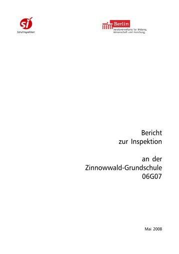 Bericht zur Inspektion an der Zinnowwald-Grundschule 06G07