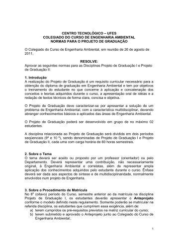 Normas Projeto de Graduação - Centro Tecnológico / UFES