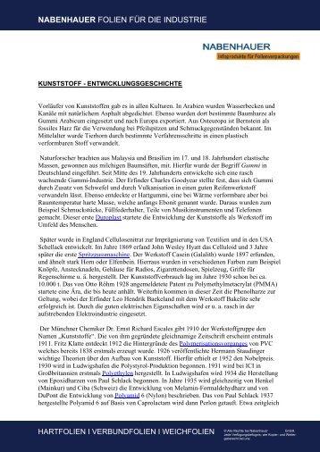 Kunststoff - Entwicklungsgeschichte - Nabenhauer Infoprodukte