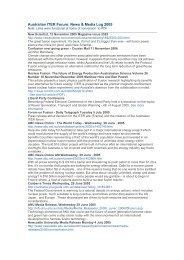 Australian ITER Forum: News & Media Log 2005 - ainse