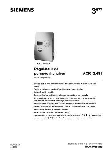 Régulateur de pompes à chaleur ACR12.481 - Siemens Schweiz AG