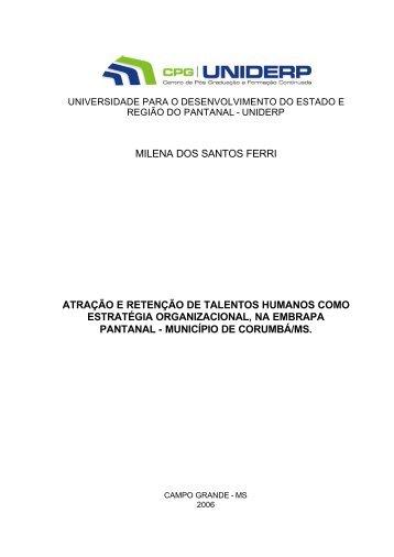 Monografia Milena Final - Embrapa Pantanal
