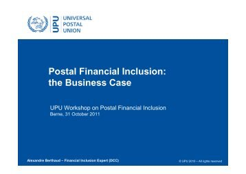 Why the Post? - Postal Financial Inclusion