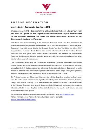 PRESSEINFORMATION - Vienna International Hotelmanagement AG