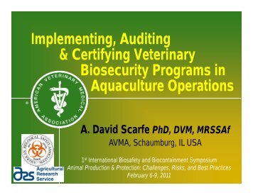 Implementing, Auditing & Certifying Veterinary Biosecurity Programs ...