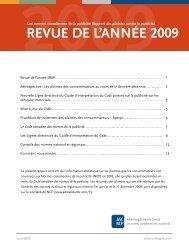 REVUE DE L'ANNÉE 2009 - Advertising Standards Canada