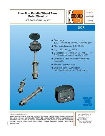 Insertion Paddle Wheel Flow Meter/Monitor - Kobold