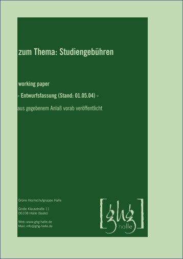 zum Thema: Studiengebühren working paper - Entwurfsfassung