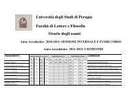 Università degli Studi di Perugia Facoltà di Lettere e Filosofia Orario ...