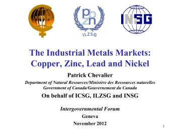 The Industrial Metals Markets: Copper, Zinc, Lead And