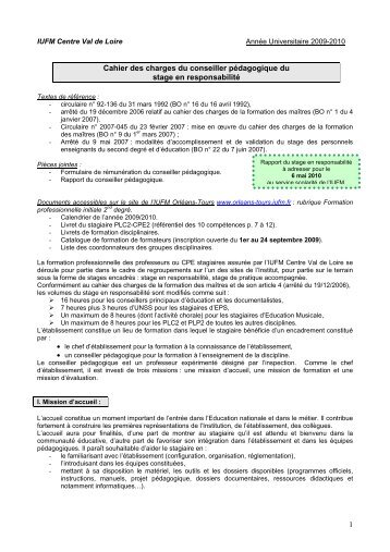 Charte des conseillers pédagogiques - IUFM