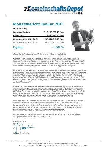 Monatsbericht Januar 2011 - Weiler Eberhardt Depotverwaltung AG