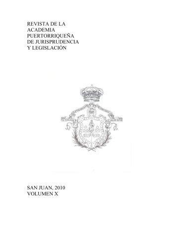volumen-x - Academia Puertorriqueña de Jurisprudencia y Legislación