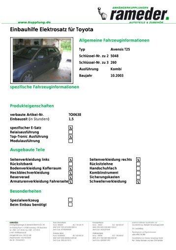 Einbauhilfe Elektrosatz für Toyota